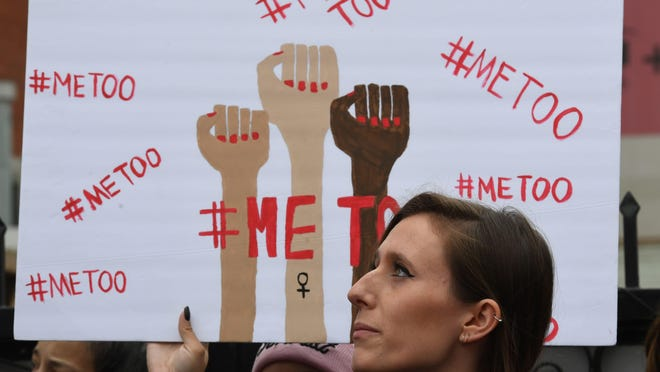 Victims of sexual harassment, sexual assault, sexual abuse and their supporters protest during a #MeToo march.