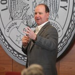 Louisiana Tech coach Skip Holtz addresses the crowd last Wednesday at the Bulldogs' signing day social.