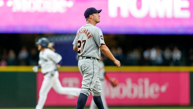 Jun 20, 2017; Seattle, WA, USA; Tigers pitcher Jordan Zimmermann walks around the mound after surrendering a solo home run to Mariners shortstop Taylor Motter during the second inning at Safeco Field.