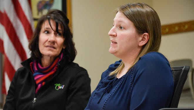 Carol Potter, executive director of student services/special education, and Amy Skaalerud, executive director of finance & business services, describe the special education cross-subsidy costs Friday, April 6, at the St. Cloud school district office.