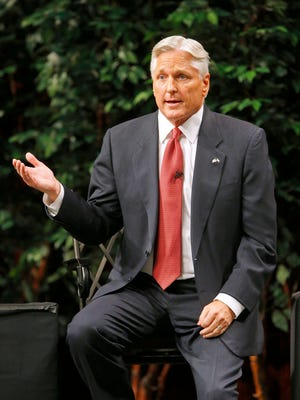 Democrat  gubernatorial candidate Fred DuVal takes part in a debate at the Chandler Center for the Arts.