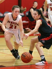 Penfield's Gabby Pancio (21) was a role player last year for the Patriots during their sectional title run but she's a starter now as a senior.
