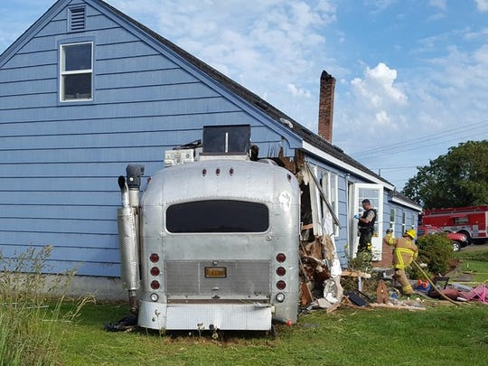 A motor home collided with a house in Tillamook Tuesday afternoon, seriously injuring the driver.