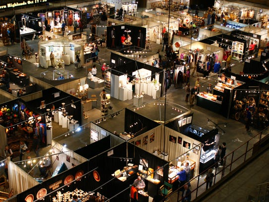 A shot above the lower level of The Craft Fair of the