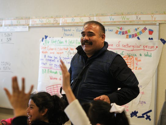 Francisco Villa Campa, the grandson of Pancho Villa, visited a classroom at Columbus Elementary School on March 8, 2018, along with a Pancho Villa impersonator.