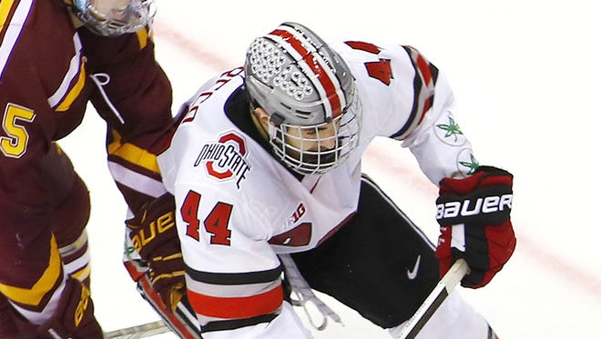 Ohio State's Anthony Greco plays against Minnesota on March 7, 2015, in Columbus, Ohio.