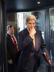 US Secretary of State John Kerry arrives for the meeting