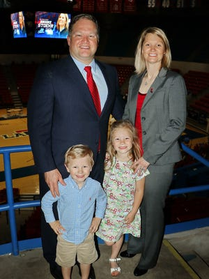 Louisiana Tech women's basketball coach Brooke Stoehr, right, is pictured with her husband, Scott, and their two kids. Scott Stoehr is co-head coach of the Techsters.