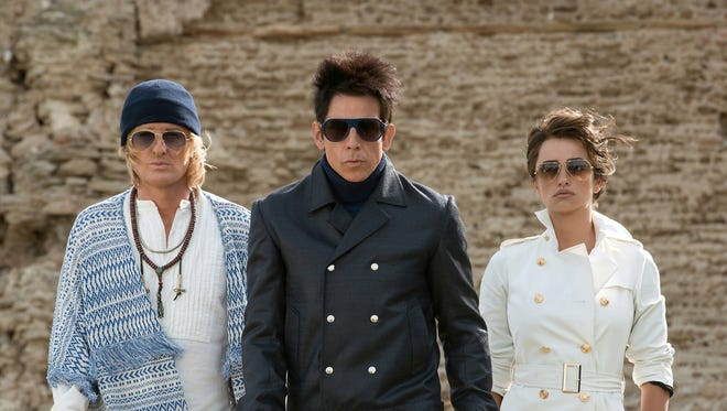 "From left: Hansel (Owen Wilson), Derek Zoolander (Ben Stiller) and Valentina (Penelope Cruz) take on the forces of fashion evil again in ""Zoolander 2."""