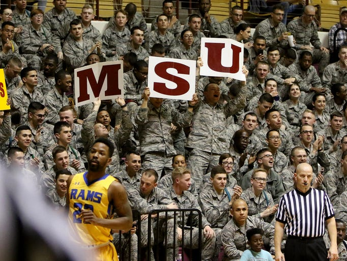 Airmen cheer for Midwestern State in their game against