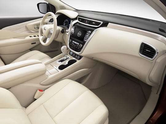 Smooth shapes and soft materials distinguish the Nissan Murano's interior..