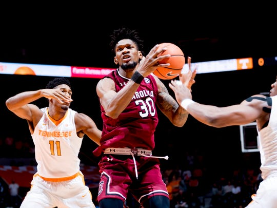 South Carolina forward Chris Silva (30) goes for a