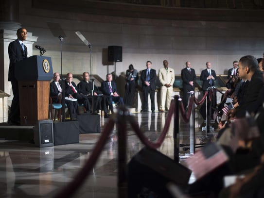 President Obama speaks at a naturalization ceremony