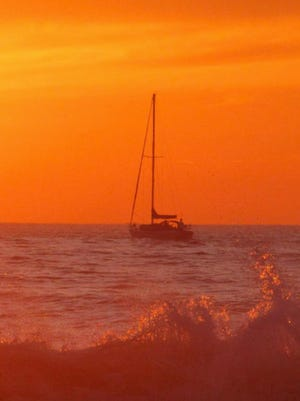 A lonely, no-sail at sunset in Ventura Harbor.