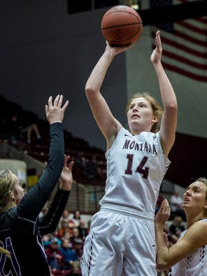 Former Malta star Hailey Nicholson (14) and ex-Great Falls High standout Nora Klick (right) are transferring from the University of Montana, per a report.