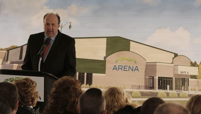 Greg Pierce, president of Windward Wealth Strategies/Fox Valley Pro Basketball, speaks Wednesday, March 29, 2017, during the ground-breaking ceremony for the $17 million, Oshkosh Arena on South Main Street in Oshkosh. The arena will host a Milwaukee Bucks minor-league team starting in the fall of 2017.