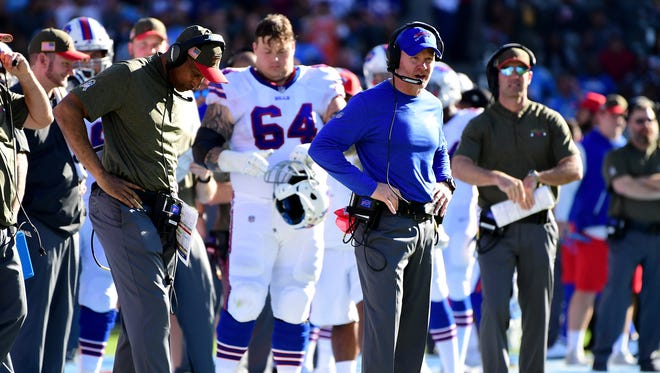 CARSON, CA - NOVEMBER 19:  Head Coach Sean McDermott of the Buffalo Bills is seen during the game against the Los Angeles Chargers at the StubHub Center on November 19, 2017 in Carson, California.  (Photo by Harry How/Getty Images)