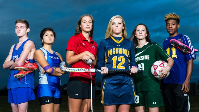 The Delmarva Media Group's top Bayside South fall athletes of 2015: Stephen Decatur cross country runners Cameron James and Alison Alvarado; James M. Bennett golfer Anna Malone; Pocomoke field hockey midfielder Lexi Butler; Parkside soccer forward Blair Vilov; and Crisfield soccer forward Johnny Taylor. Not pictured: Pocomoke volleyball hitter Dynaisha Christian and James M. Bennett golfer Ayden Whitehead.