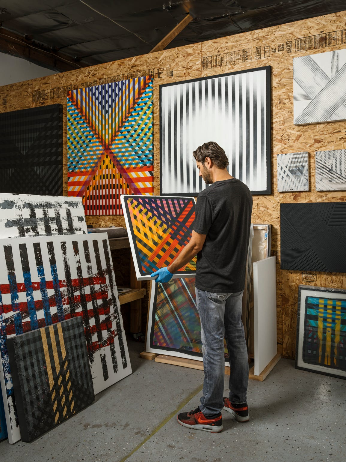 Artist Ryan Campbell in his Cathedral City studio