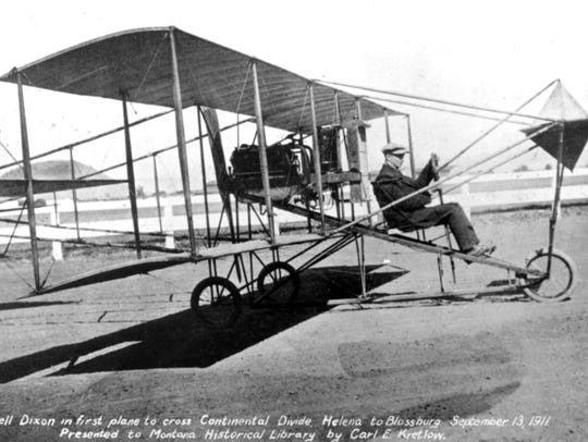 "Cromwell Dixon aboard his Curtiss Biplane dubbed ""Little"