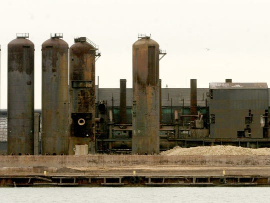 In January 2006, the McLouth Steel property in Trenton viewed from Grosse Ile.