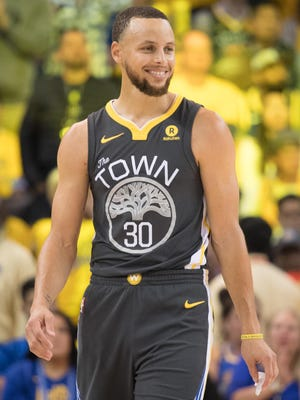 Golden State Warriors guard Stephen Curry during the fourth quarter in Game 2 of the second round of the 2018 NBA playoffs.