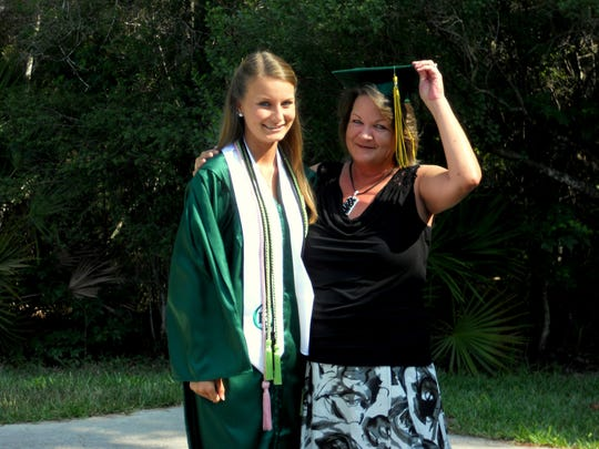 My mom and I at my high school graduation. She never got to graduate, so I let her wear the cap.