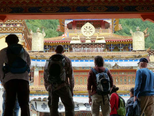 Participants in a 2012 San Juan College global studies program visit a Buddhist monastery in Kangding, China.