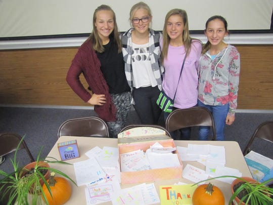 Members of the National Junior Honor Society at Horseheads Middle School ran the program Thursday kicking off the  Dream Big Sophie military card drive. They included Tess Cites, Taylor Orben, Lauren Augustine, Mia Perry