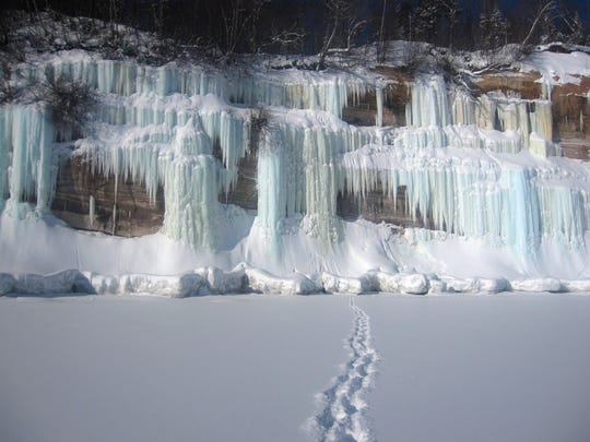 Ice climbing at Pictured Rocks National Lakeshore.
