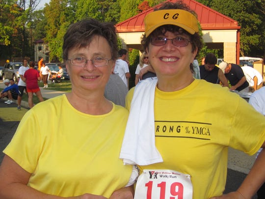 The Janice Garbolino 5K Run/Walk, conducted annually in September, helps raise funds to support the LIVESTRONG program at the YMCA of Metuchen, Edison, Woodbridge and South Amboy. Among the participants this year were, left to right, Marie Pase and Peg Tursi .