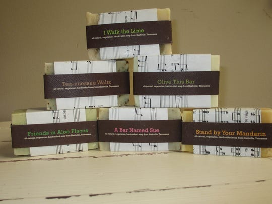Music City Suds soaps are all natural and vegan, wrapped