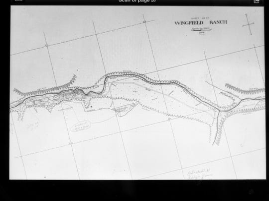 A hydrographic survey of Wingfield Ditch shows its inception in Upper Canyon, but not its full route to the Old Mill.