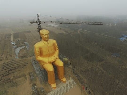 Another image of the Chairman Mao statue build in rural