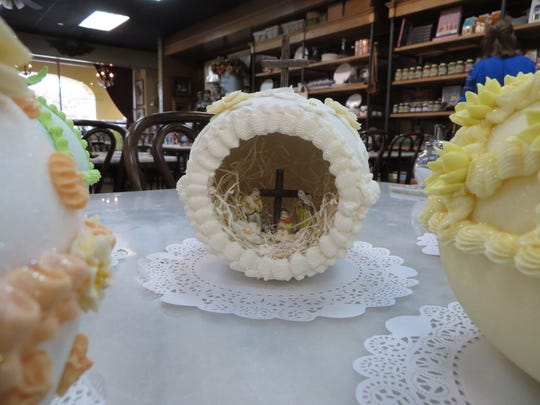 A nativity scene inside a handmade panoramic Easter