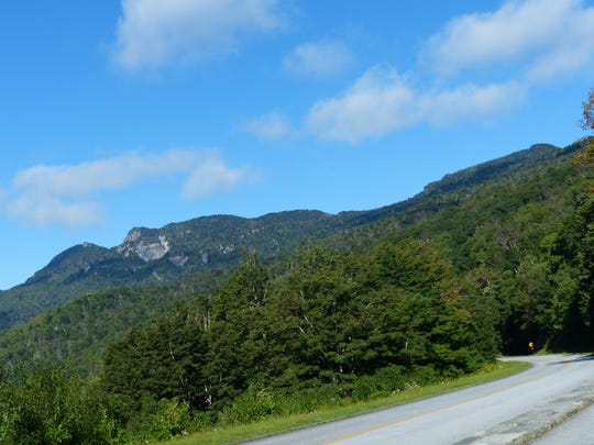 Grandfather Mountain State Park, including Calloway Peak, is seen from the Blue Ridge Parkway.