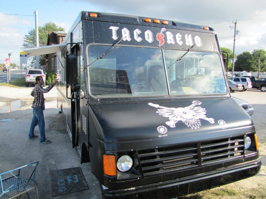 The Taco Reho food truck is located in the parking lot of Liquid and Big Chill Surf Cantina near Rehoboth Beach.
