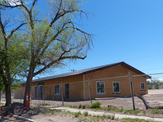 The new senior center in Carrizozo has been framed , exterior and windows added, as it moves toward a July completion.