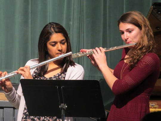 Sonali Shah of Edison and Cecily D'Amore of Scotch Plains, seniors at The Wardlaw-Hartridge School in Edison, performed a flute duet to Francesco Geminiani's Allegretto Con Brio during the annual Spring Music Recital on April 10.