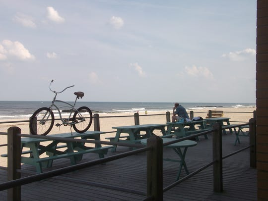 A bicycle sits a top a picnic table at the North End Pavilion in Spring Lake.