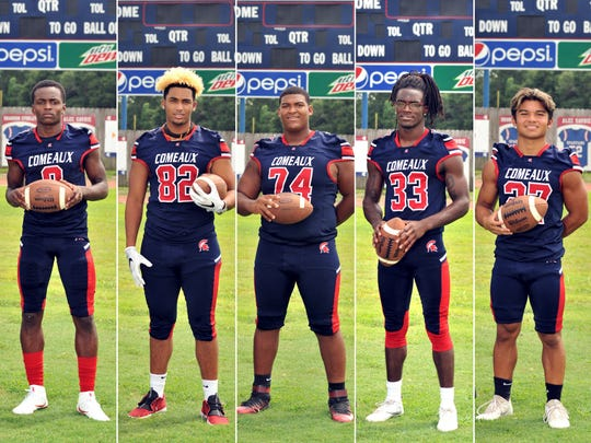 Comeaux High Players to Watch Tenarious Achan, Jaylon Johnson, Shane Vallot, Latrevian Thomas, and Tikki Pascual.