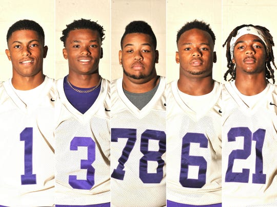 Five players to watch from St. Martinville this season: Jared Davis, Deantre James, Tre' Alexander, Trevon Charles, and Trevon Goings.