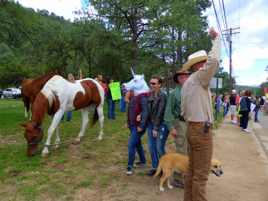 Real horses, miniature and full size, and a mock unicorn came out to support the return of the wild herd to Alto.