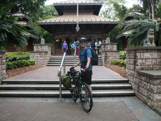 "Eli Major's official ""start"" photo outside of the Nepalese Peace Pagoda in Brisbane, Australia."