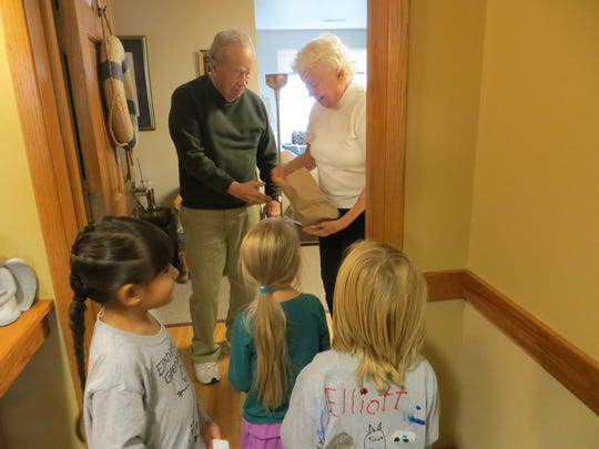 Elkhart Lake-Glenbeulah junior kindergarten and kindergarten students went trick-or-treating recently at the nearby Cedar Landing assisted living center.