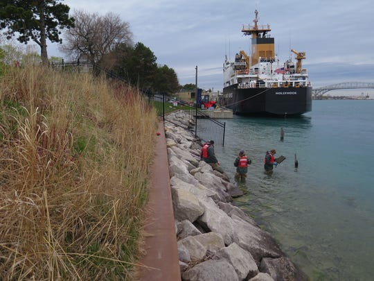 Researchers work in the St. Clair River near Port Huron.