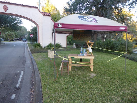 A Seminole-logoed canopy belonging to a Los Robles