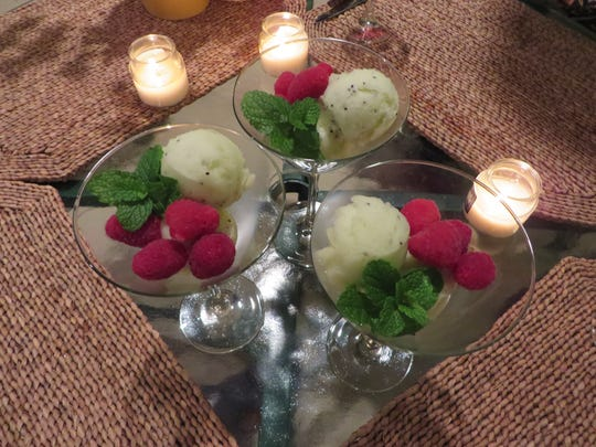 Kiwi elderflower sorbet by Chef Celia Casey.