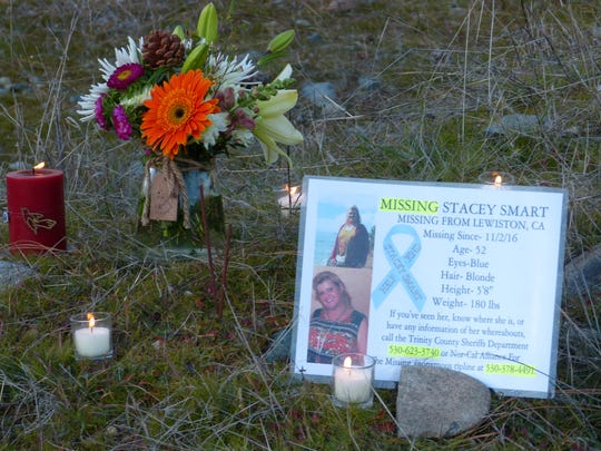 A small memorial was erected in December for Stacey Smart, who has been missing since mid-October 2016