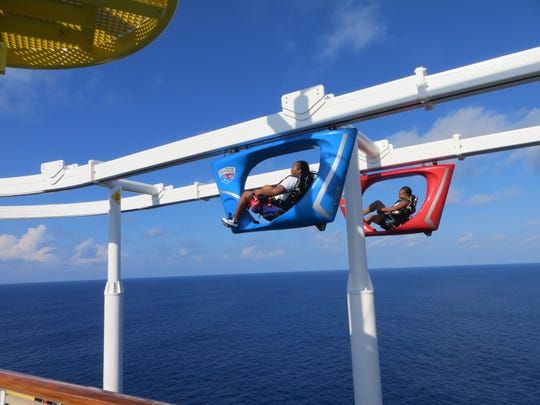 The new Carnival Vista features the SkyRide, an aerial bicycle suspended above the ship's top deck.